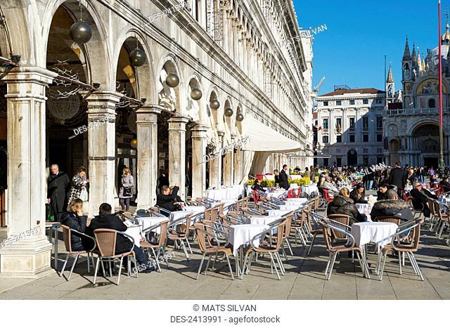 Cafe in Piazza san Marco; Venice, Veneto, Italy