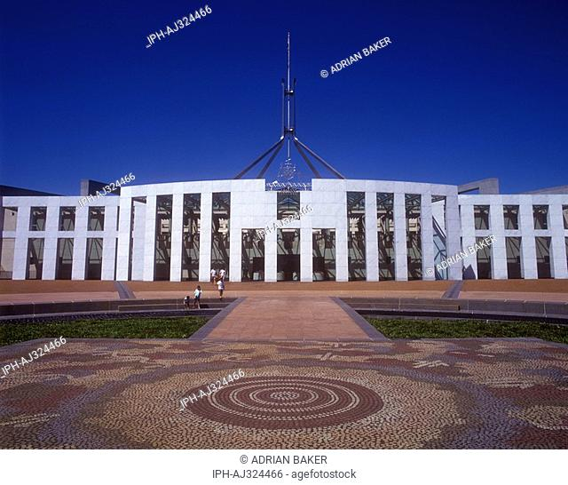 Main entrance to Parliament House in Canberra, the meeting place of the Parliament of Australia