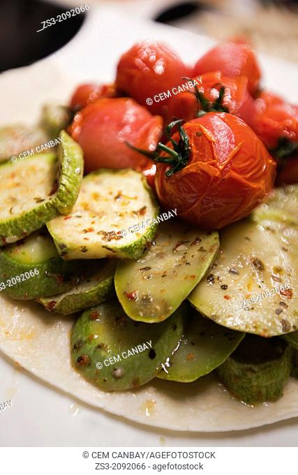 Still-life photo of grilled tomatoes and grilled zucchini, Istanbul, Marmara Province, Turkey, Europe