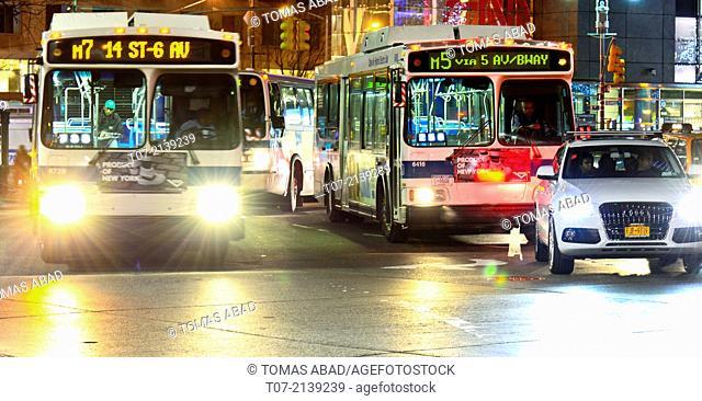 MTA M7 and M5 bus, public transportation, mass transit, Rush hour traffic, Mass Transit, Broadway, 59th Street and Columbus Circle, Midtown Manhattan