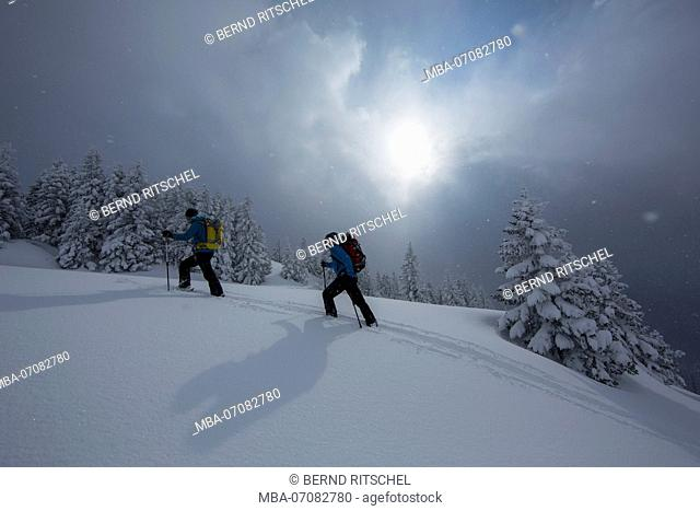 Climber while climbing during ski tour to Rotwand, Mangfall mountains, Bavarian Alps, Bavaria, Germany