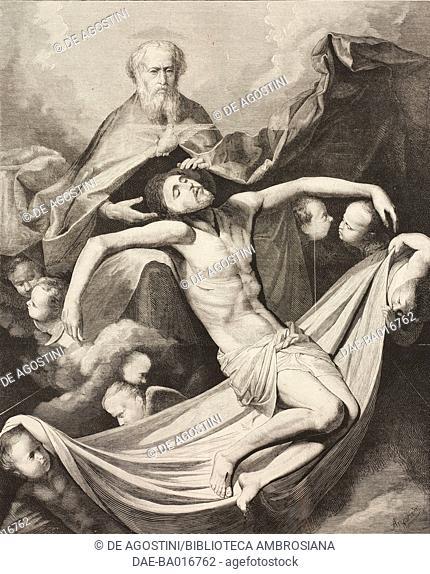 The holy trinity, engraving based on a painting by Jose de Ribera (1591-1651), illustration from La Ilustracion Espanola y Americana magazine, Year 19, Number 4