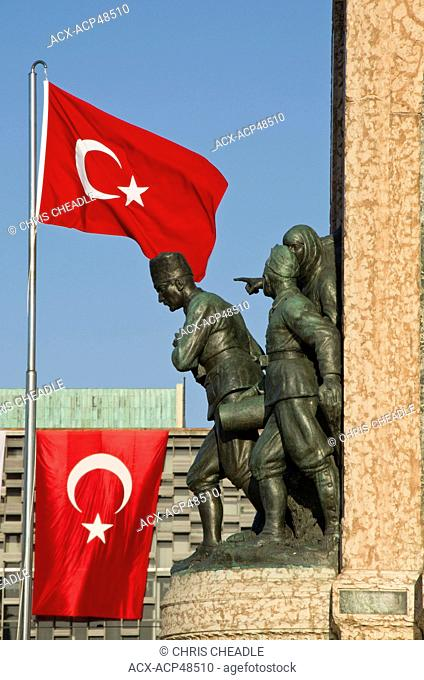 Monument of the Republic and Turkish Flag, in Taksim Square, Istanbul, Turkey
