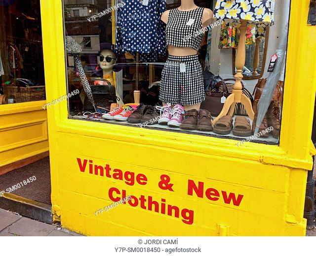 Vintage & New Clothig shop, Walcot Street. Bath. Somerset. England. United Kingdom