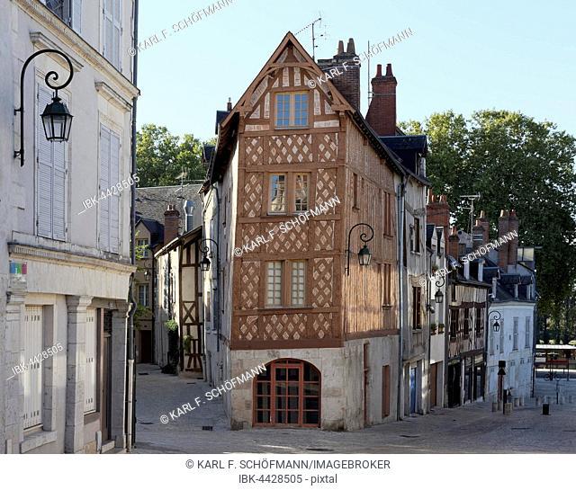Medieval half-timbered building, Rue de la Poterne, Orléans, Centre-Val de Loire, France