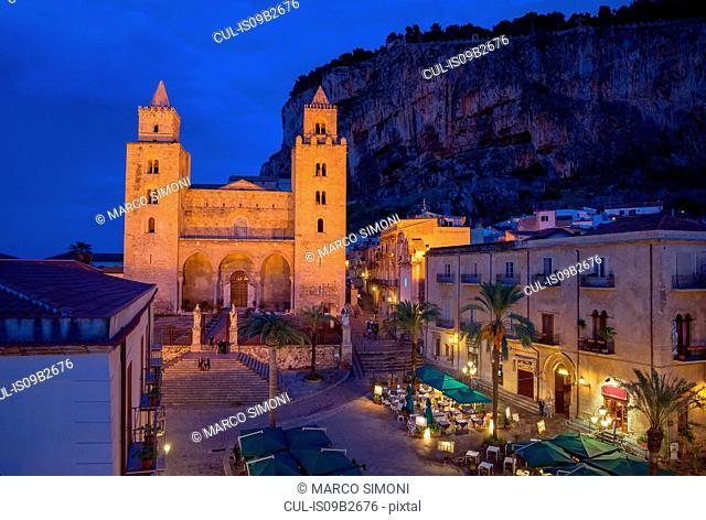 Cathedral San Salvatore and La rocca at night, Piazza Duomo, Cefalu, Sicily, Italy