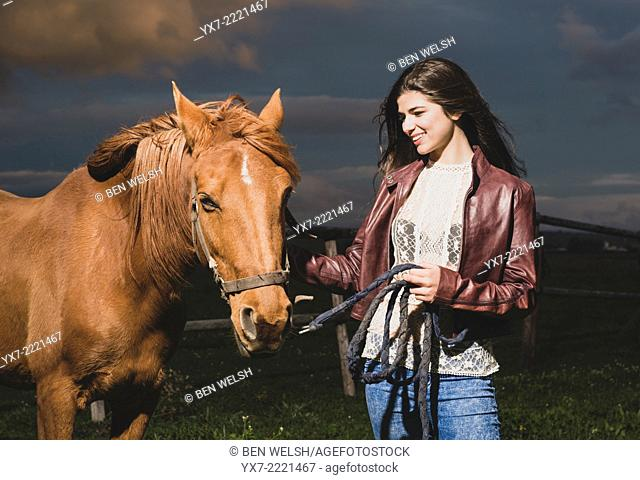 Young woman with her Horse. Tarifa, cadiz, Andalusia, Spain