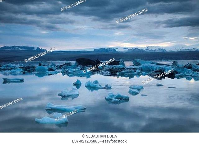 Iceland , Landscape scenery with a ice