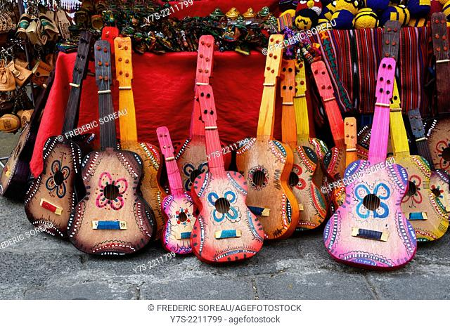 Small guitar in Panajachel market, Lake Atitlan, Guatemala, Central America