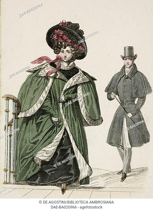 Woman wearing a large green coat, with light-coloured fur trim and lining and a black hat with red ribbon and black lace, and a man wearing a dark overcoat