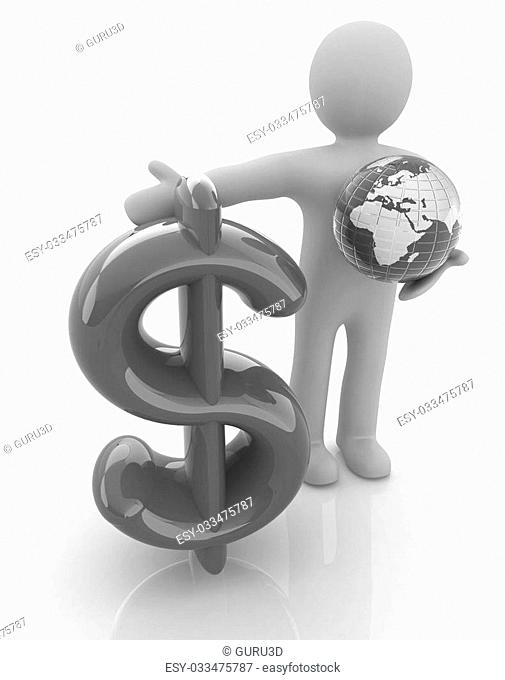 3d people - man, person presenting - dollar with global concept with Earth