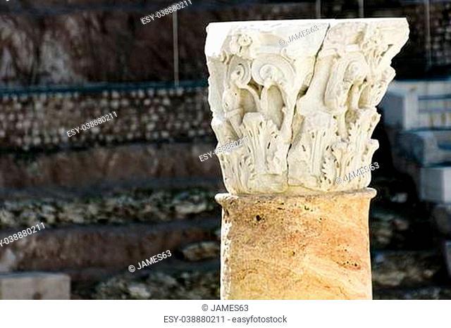 column of ancient Roman amphitheater in Cartagena, Spain