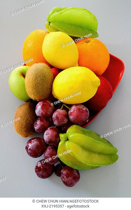 Still life with various fresh fruit