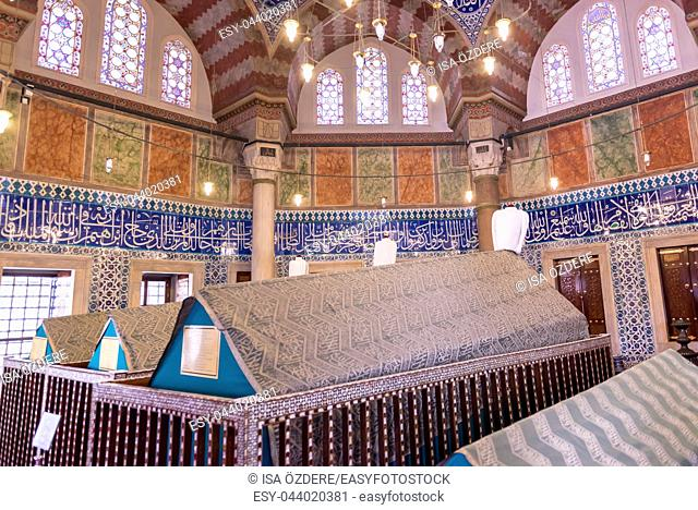Interior view of Tomb of Hurrem (Roksolana) Sultan who is wife of the legendary Turkish Sultan Suleyman in Suleymaniye mosque, Istanbul. 04 June,2017