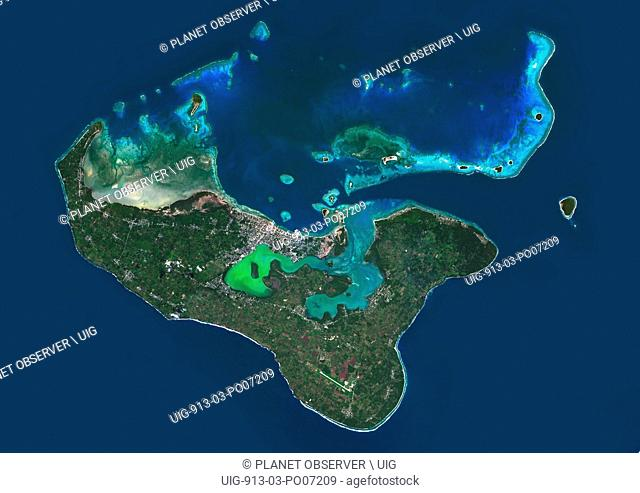 Satellite view of Tongatapu, the largest island of Tonga archipelago. This image was compiled from data acquired by Landsat 8 satellite in 2014