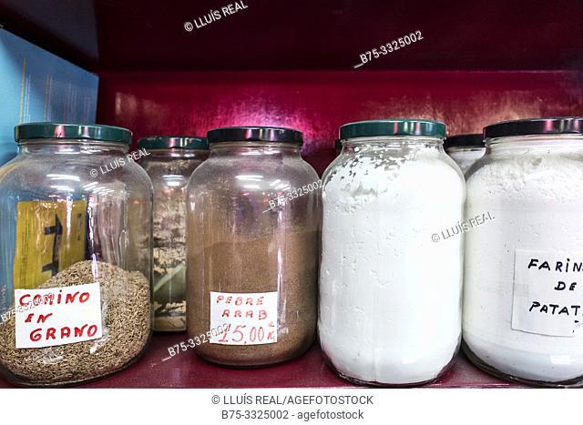 Jars of species on a shelf. Mahon, Baleares, Spain, Europe