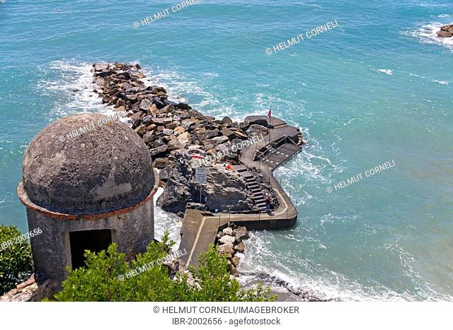 View from the castle tower on the coast, breakwater on the outskirts of Moneglia, Genoa Province, Liguria, Italian Riviera or Riviera di Levante, Italy, Europe