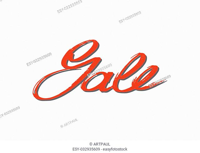 Sale. Hand lettering. Vector. Background. Handmade calligraphy