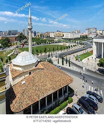 Looking over the Et'hem Bey Mosque and Skanderbeg Square to the National Historical Museum, Tirana, Albania,