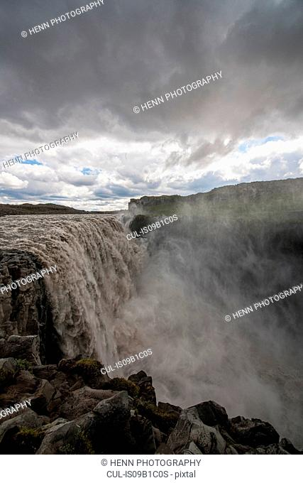 Dettifoss waterfall, canyon of Jokulsa Gljufur National Park, North Iceland