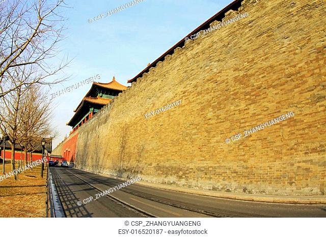 BEIJING - DECEMBER 22: The Xihua Gate and walls of the Forbidden City, on december 22, 2013, beijing, china