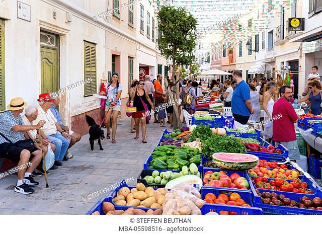 Weekly market in Es Mercadal, centre of the island Menorca, the Balearic Islands, Spain, Southern Europe