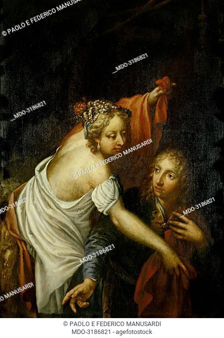 Potiphare's wife trying to seduce the chaste Joseph (La moglie di Putifarre tenta il casto Giuseppe), by Andrea Celesti, 17th Century, oil on canvas