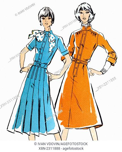 Vintage girls from 1970s fashion magazine, on white background
