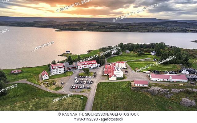 Lake Hotel Egilsstadir, Egilsstadir, Eastern Iceland. This image is shot using a drone