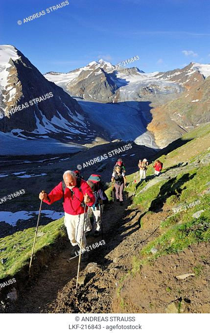 Group of hikers ascending Pitztaler Joechl with linker Fernerkogel, Wildspitze and Hinterer Brunnenkogel above hut Braunschweiger Huette in background