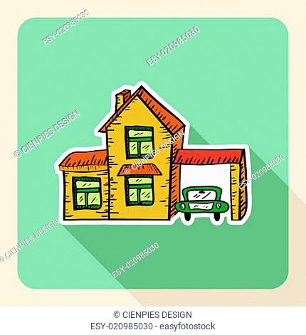 Hand drawn realtor business property concept