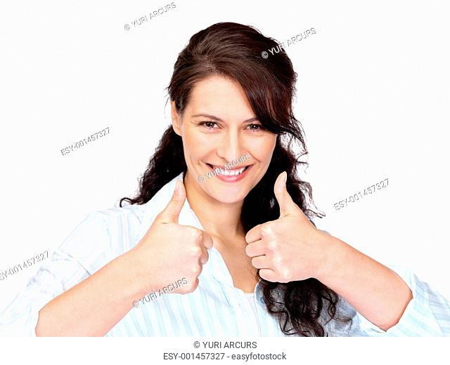 An attractive young woman gesturing thumbs up sign with both hands on a white background
