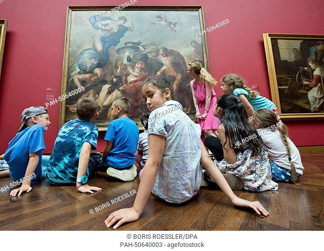 Children of a primary school take part in the 'Education Week in the Museum' in the Staedel Museum in Frankfurt Main, Germany, 23 July 2014