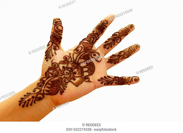 Closeup of a Hand with temporary tattoo indian way with herbal paste