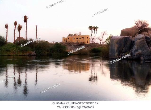 Nubian house at the banks of the Nile in Aswan, Egypt, Africa