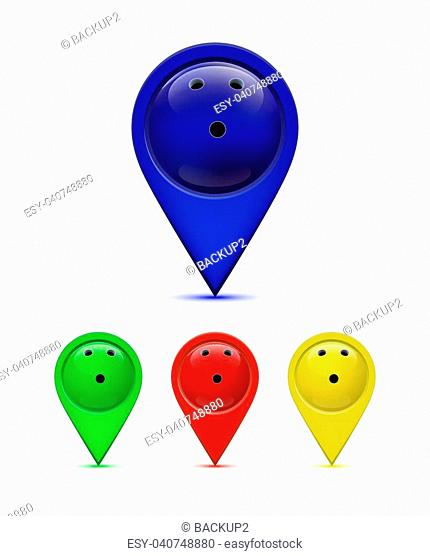 Bowling map pin set. Vector shiny signs with bowling ball for map isolated on white
