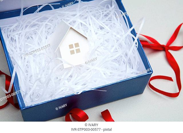 Gift With Red Ribbon And House Model