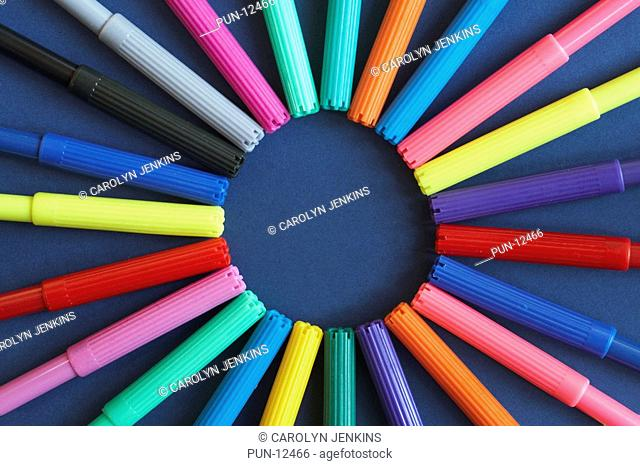 Ring of coloured pens