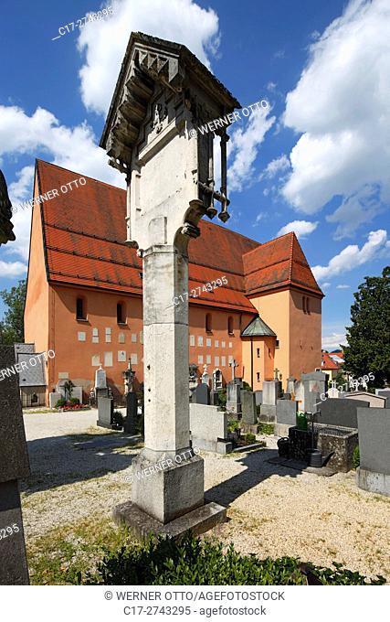 Germany, Bavaria, Eastern Bavaria, Lower Bavaria, Passau, Danube, Inn, Ilz, Passau-Innstadt, parish church St. Severin, catholic church, cemetery church