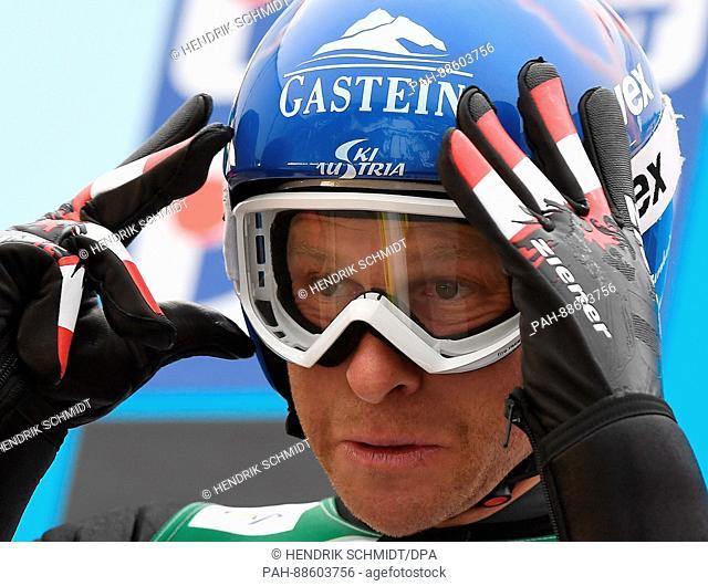 Austrian athlete Bernhard Gruber prepares to compete in the men's 10 kilometre combination event at the Nordic Ski World Championship in Lahti, Finland
