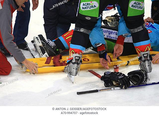 Icehockey player is hurt