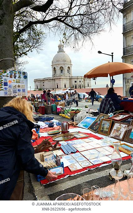 Feira da Ladra flea market or the Thieves Market in the Alfama district, Lisbon, Portugal, Europe