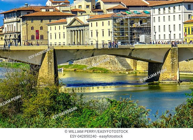 Ponte Bridge alle Grazie Arno River Florence Tuscany Italy. Bridge originally built in 1237