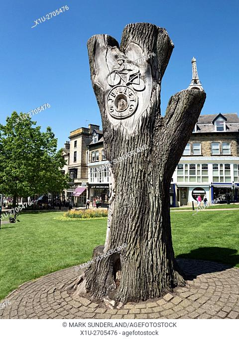 Tree sculpture commemorating the Grand Depart of the Tour de France in Yorkshire in 2014 in Harrogate North Yorkshire England