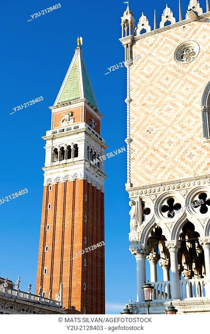 Bell tower and Doges palace in Venice Italy