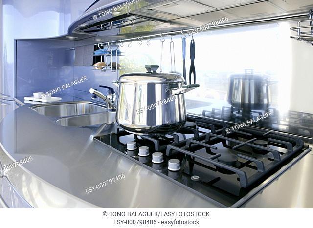 Blue silver kitchen modern architecture decoration interior design