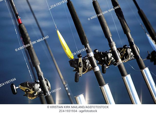 Fishing rods and lure at trolling boat. Scandinavia