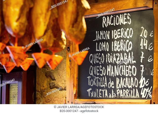 Ham, Bar Taberna Aralar, Parte Vieja, Old Town, Donostia, San Sebastian, Gipuzkoa, Basque Country, Spain