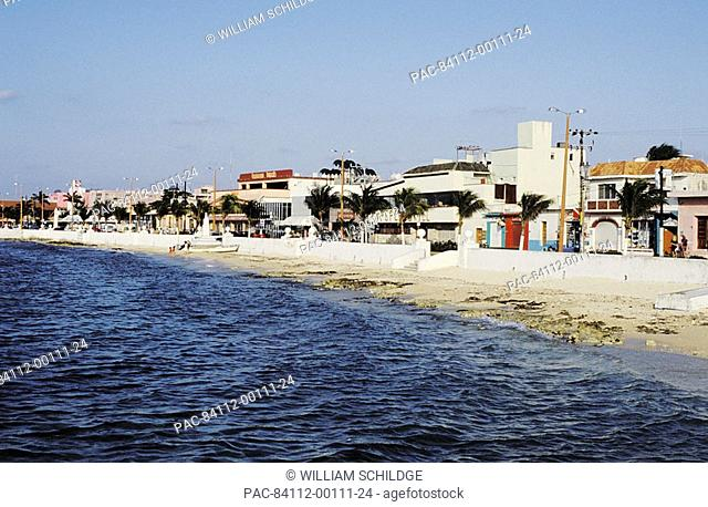 Mexico, Yucatan Peninsula, Cozumel, Storefronts at San Miguel, View from ocean