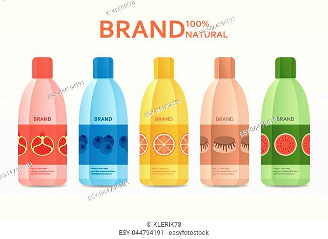 Fresh fruit template design for cosmetic package. Vector illustration